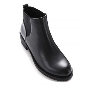 PU Leather Elastic Round Toe Ankle Boots