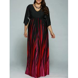 A Line Empire Waist Printed Plus Size Formal Maxi Dress with Batwing Sleeves - Black - 4xl