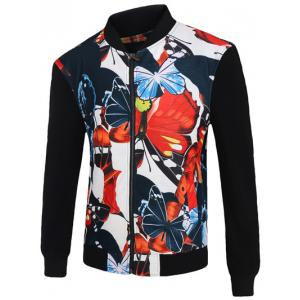 3D Color Block Butterfly Print Stand Collar Zip-Up Jacket