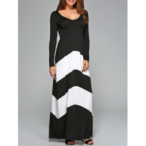 Zigzag Prom Party Maxi Dress with Sleeves - White And Black - L