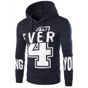 Hooded Numer and Letter Print Long Sleeve Hoodie
