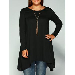 Asymmetric Plus Size Full Sleeve T-Shirt - Black - 3xl