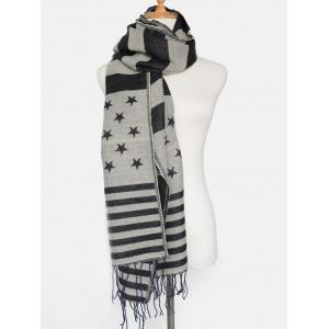 Winter American Flag Pattern Tassel Shawl Scarf