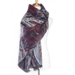 Winter Ethnic Mural Pattern Fringed Shawl Scarf