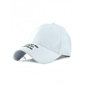Punk Hoop Letters Embroidery PU Baseball Hat - White