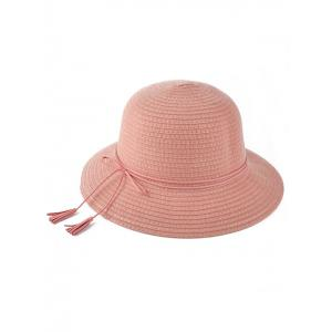 Winter Tassel Lace-Up Brimmed Knit Bucket Hat - Pink