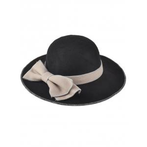 Winter Big Bowknot Felt Floppy Hat - Black