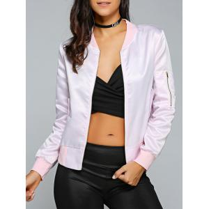 Satin Zip Up Bomber Jacket - Pink - S