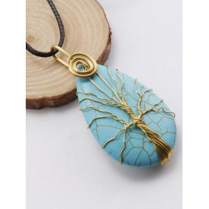 Faux Turquoise Life Tree Pendant Necklace