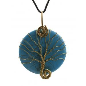 Faux Turquoise Life Tree Circle Necklace
