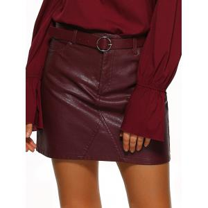Pockets Design Belted Leather Mini Skirt - Wine Red - S