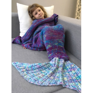 Warm and Soft Knitted Sofa Kids Mermaid Tail Blanket - Blue - M