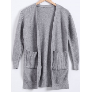 Double Pockets Cardigan - Gray - M