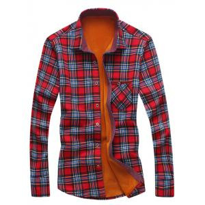 Pocket Design Thermal Checkered Shirt