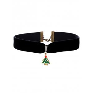 Christmas Tree Velvet Wide Choker Necklace - Black