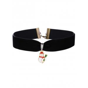 Snowman Velvet Wide Choker Necklace - Black
