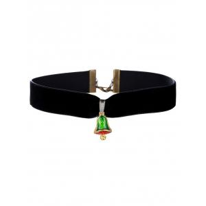 Enamel Bell Velvet Wide Choker Necklace - Black