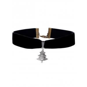 Carved Christmas Tree Velvet Wide Choker - Black