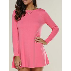 Long Sleeve Jersey Tunic Swing Dress - Watermelon Red - L