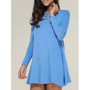 Long Sleeve Jersey Tunic Swing Dress - Ice Blue - Xl