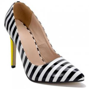 Color Block Striped Pattern Patent Leather Pumps - White And Black - 38