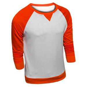 Crew Neck Color Block Raglan Sleeve Sweatshirt