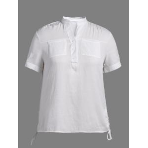Plus Size Size Lace Up Polo Shirt