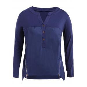 Plus Size Zipper Buttons Long Sleeve T-Shirt