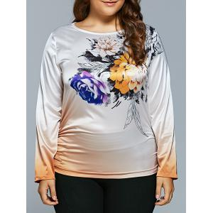 Plus Size Flower Printed Ombre Satin T-shirt