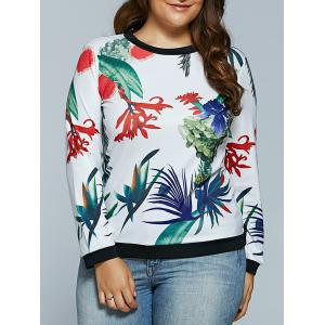 Digital Plant Print Plus Size Long Sleeve T-shirt - White - 5xl
