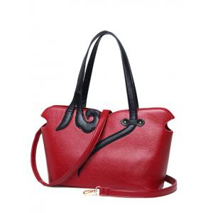 PU Leather Two-Tone Stitching Shoulder Bag - Wine Red
