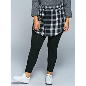 Slimming Plaid Faux Twinset Pants - Black - 2xl