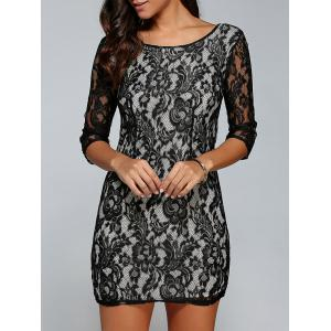 Short Lace Bodycon Cocktail Dress with Sleeves - Black - S