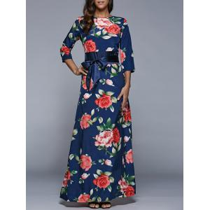 3/4 Sleeve Floral Print High Waist Maxi Dress - Purplish Blue - M