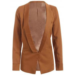 Shawl Collar Pocket Design Plain Blazer - Camel - S