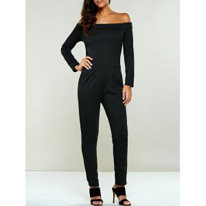 Off The Shoulder Long Sleeve Jumsuit - Black - S