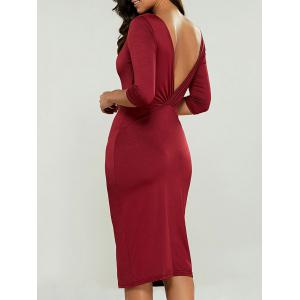 Knee Length Bodycon Dress - Wine Red - M