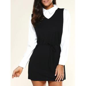 V Neck Drawstring Dress + Long Sleeve Shirt