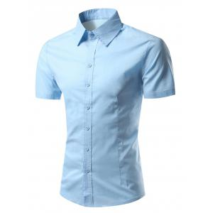 Slimming Turn-Down Collar Short Sleeve Shirt - Blue - 2xl