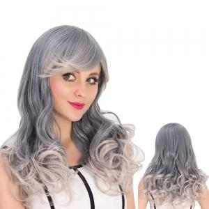 Long Side Bang Wavy Gray Ombre Cosplay Synthetic Wig