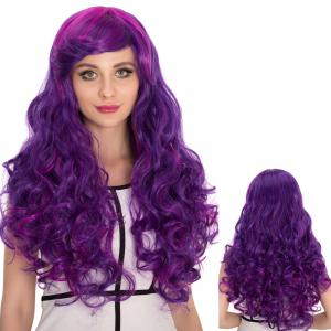 Long Side Bang Shaggy Wavy Purple Ombre Cosplay Synthetic Wig