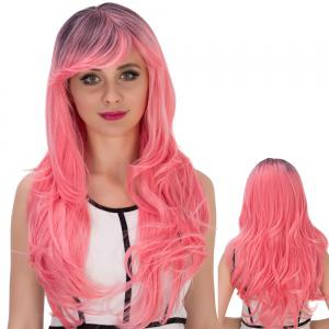 Long Side Bang Wavy Pink Gradient Cosplay Synthetic Wig - Colormix