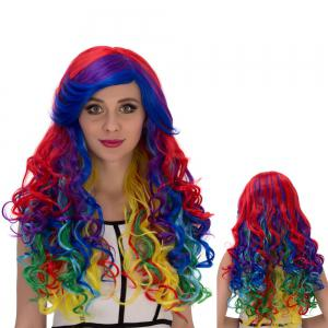 Long Side Bang Wavy Rainbow Cosplay Synthetic Wig