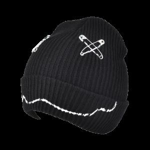 Warm Paper Clip Smiling Face Flange Knitted Beanie - Black