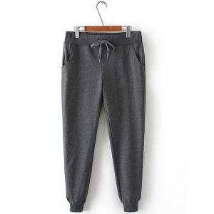 Plus Size Drawstring Harem Jogger Pants - Gray - 2xl