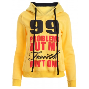 Letters Print Double-Pocket Design String Hoodie