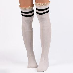 Casual Lace Edge Double Stripe Pattern Autumn Stockings - White - S