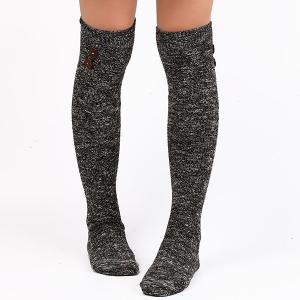 Casual Buttons Snowflake Point Knit Stockings - Black - One Size