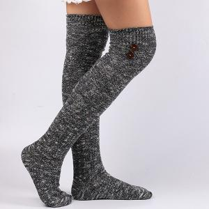 Casual Buttons Snowflake Point Knit Stockings - Deep Blue