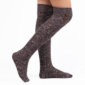 Casual Buttons Snowflake Point Knit Stockings - Deep Purple - One Size